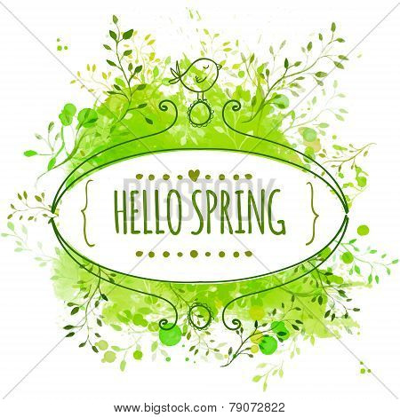 White hand drawn ornate frame with doodle bird and template text hello spring. Green watercolor spla