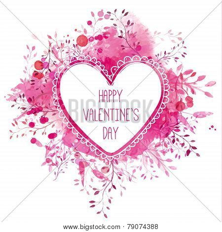White hand drawn heart frame with text happy valentine's day. Pink watercolor splash background with