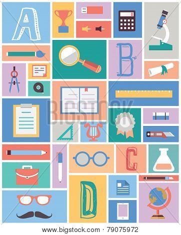 Set Of Education Equipment. Flat Style Design