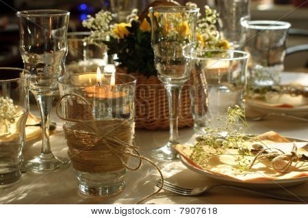 Table Setting With Candles