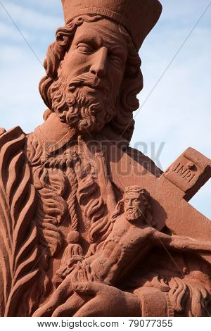 GEMUNDEN, GERMANY - 18 JULY: Saint John of Nepomuk, statue on the main street of Gemunden in Bavaria, Germany, on July 18, 2013