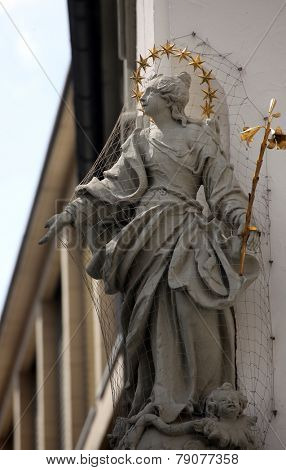 WURZBURG, GERMANY - JULY 18: Statue of Virgin Mary in Wurzburg, Bavaria, Germany on July 18, 2013.