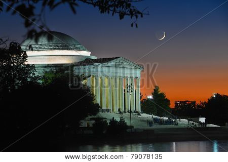 Washington DC - Thomas Jefferson Memorial at crescent moon night -  United States of America