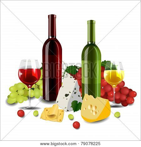 Red And White Wine In Bottles And Glasses, Different Types Of Grapes And Cheese On White Background.