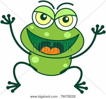 Green frog in malicious mood