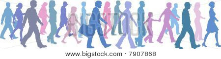 People Of Color Group Walk Follow Direction Leader.
