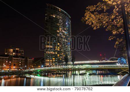 Marriott West India Quay Hotel Building In Canary Wharf By Night