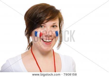 Equipo femenino, del francés partidario, aislada en negro