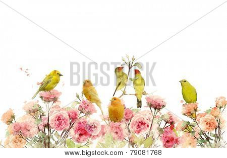 Digital Painting Of Rose Bushes And Yellow Birds