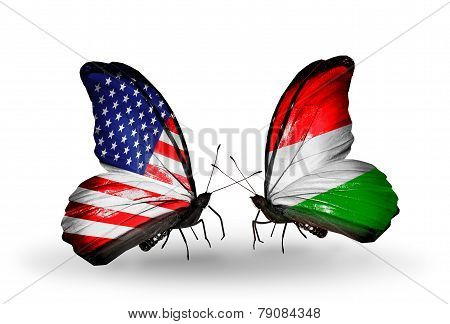 Two Butterflies With Flags On Wings As Symbol Of Relations Usa And Hungary