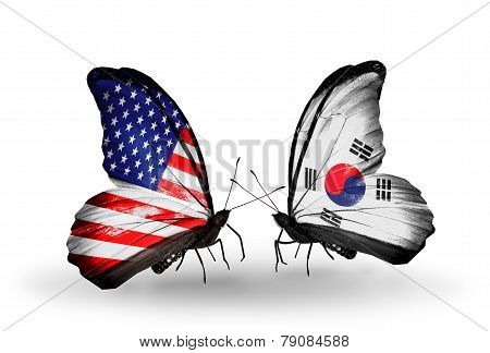 Two Butterflies With Flags On Wings As Symbol Of Relations Usa And South Korea