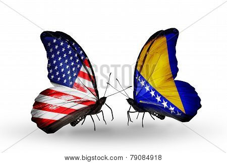 Two Butterflies With Flags On Wings As Symbol Of Relations Usa And Bosnia And Herzegovina