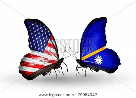 Two Butterflies With Flags On Wings As Symbol Of Relations Usa And Nauru