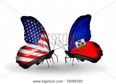 Two Butterflies With Flags On Wings As Symbol Of Relations Usa And Haiti