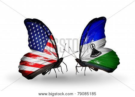 Two Butterflies With Flags On Wings As Symbol Of Relations Usa And Lesotho