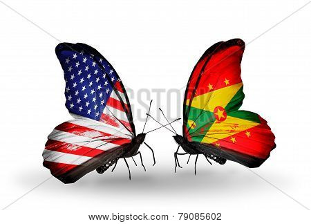 Two Butterflies With Flags On Wings As Symbol Of Relations Usa And Grenada