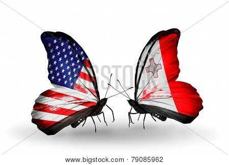 Two Butterflies With Flags On Wings As Symbol Of Relations Usa And Malta