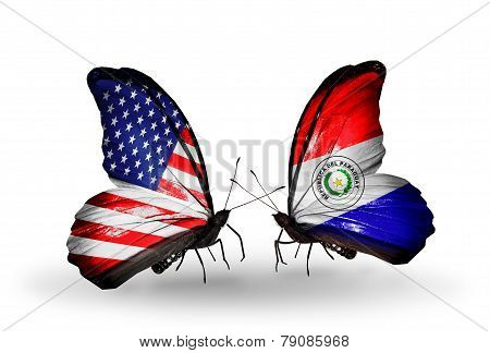 Two Butterflies With Flags On Wings As Symbol Of Relations Usa And Paraguay