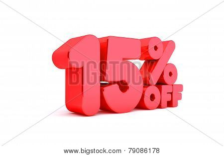 15% Off 3D Render Red Word Isolated in White Background
