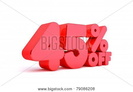 45% Off 3D Render Red Word Isolated in White Background