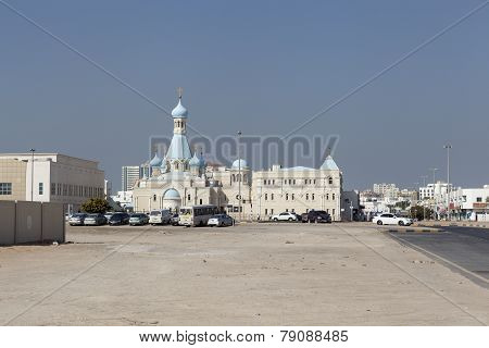 SHARJAH, UNITED ARAB EMIRATES - DECEMBER 20, 2014: Photo of Russian Church of the Apostle Philip
