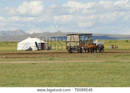 Mongolians have a picnic circa Harhorin, Mongolia.
