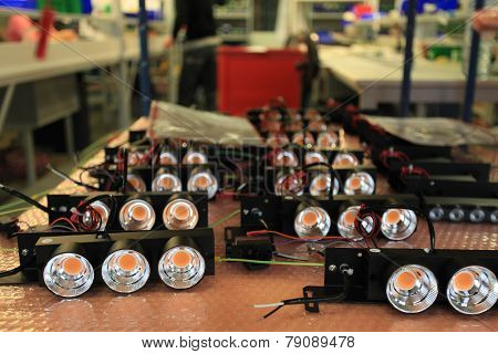 assembly of LED lights in manufacturing