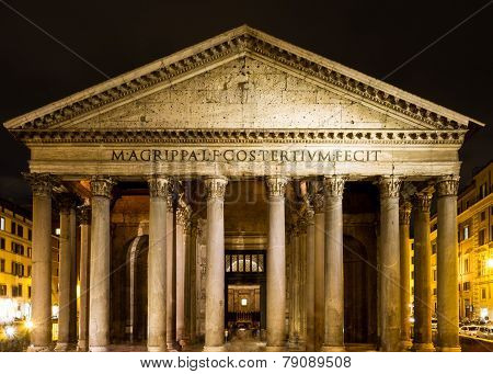 Roman Pantheon At Night