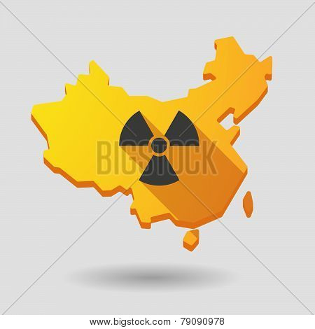 China Map Icon With A Radioactivity Sign