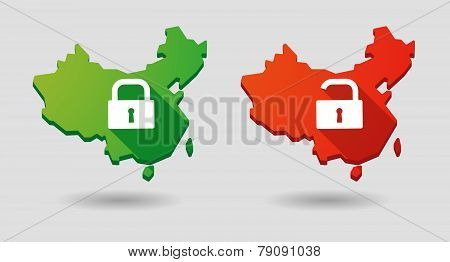 China Map Lock Pad Icon Set