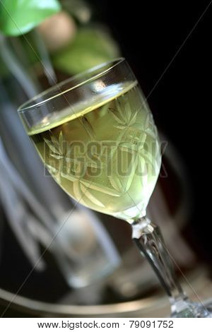 White wine glass with shallow depth of field