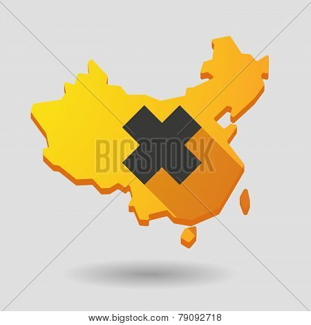 China Map Icon With An Irritating Substance Sign