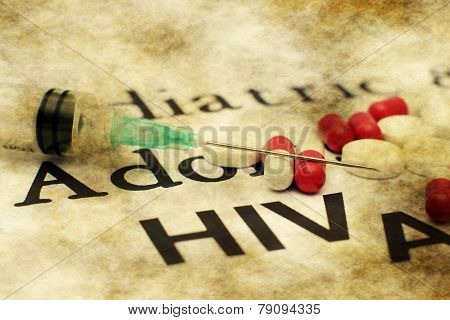 Syringe On Aids Text