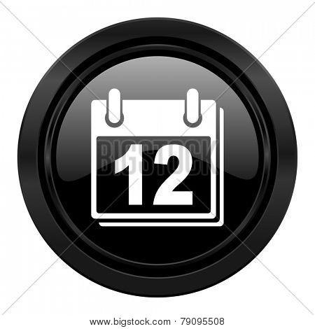 calendar black icon organizer sign agenda symbol