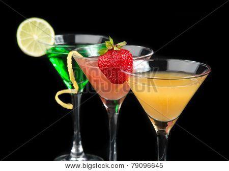 Three Cocktails Cosmopolitan Cocktails Decorated With Citrus Lemon