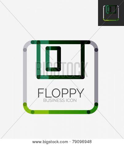 Minimal line design logo, floppy icon, branding emblem