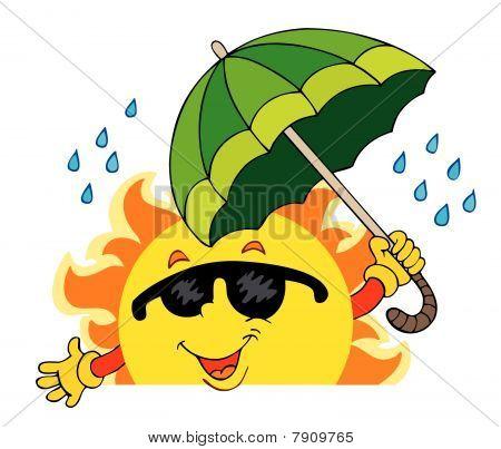 Lauernde Sonne mit big umbrella