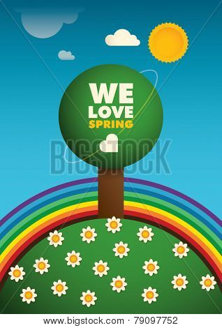 Colorful spring illustration. Vector illustration.