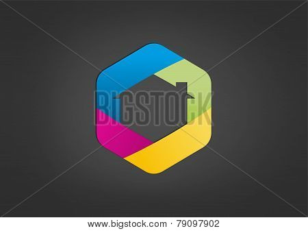 hexagon construction abstract vector logo design template
