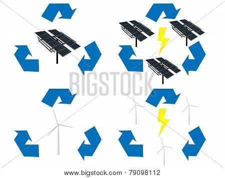 Renewable Energy Signs Icons