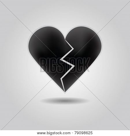 Black abstract broken heart icon with drop shadow on gray gradient background
