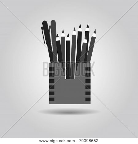 Pencil holder and organizer box icon on gray gradient background