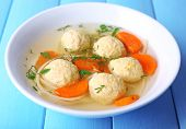 picture of meatballs  - Soup with meatballs and noodles in bowl on wooden background - JPG
