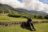 stock photo of cannon  - Cannon at Fort George on the Caribbean island of St Kitts - JPG