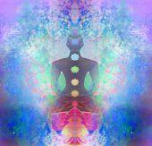foto of padmasana  - Yoga man silhouette in lotus pose - JPG