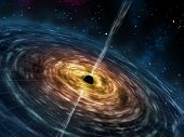 pic of nucleus  - Black hole attracting space matter - JPG