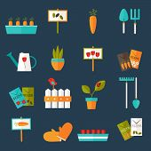 image of water bug  - Illustration of Gardening set icons over blue - JPG
