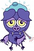 image of bat wings  - Purple bat in minimalistic style with sad bulging eyes - JPG