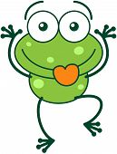 foto of bulge  - Cute green frog with bulging eyes and long legs while sticking its tongue out and making funny faces in a very amusing way vector - JPG