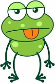 Green frog in apathetic mood poster